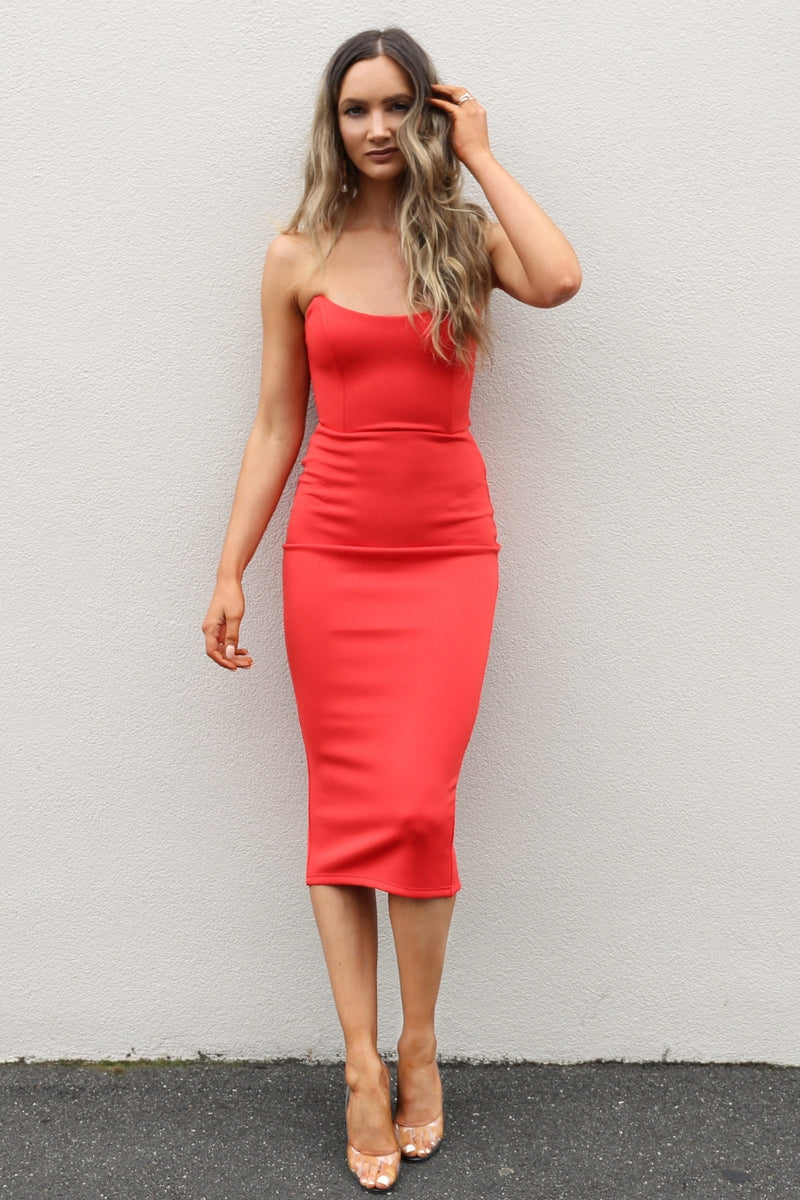 sunray strapless red dress fresh soul mve boutique