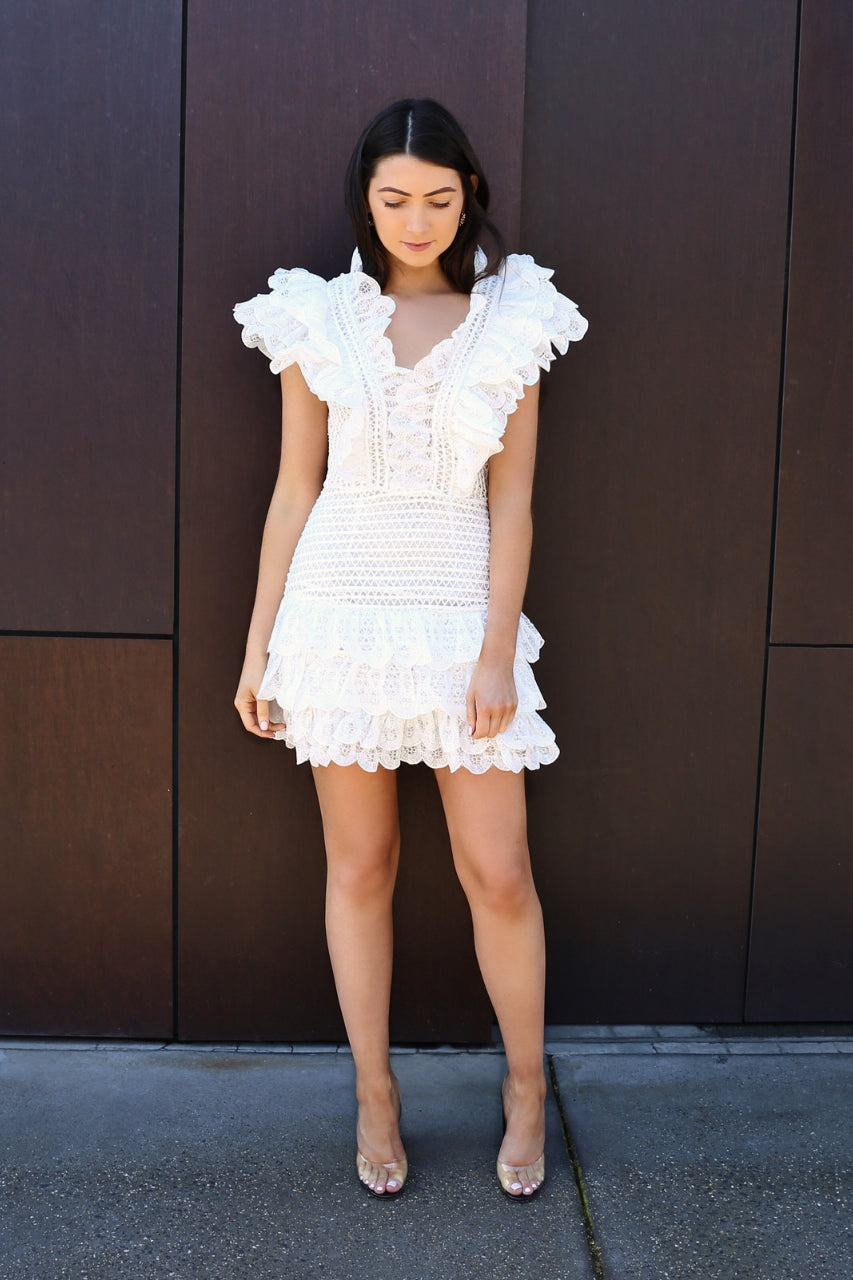 ivory and chain Mojito frill dress