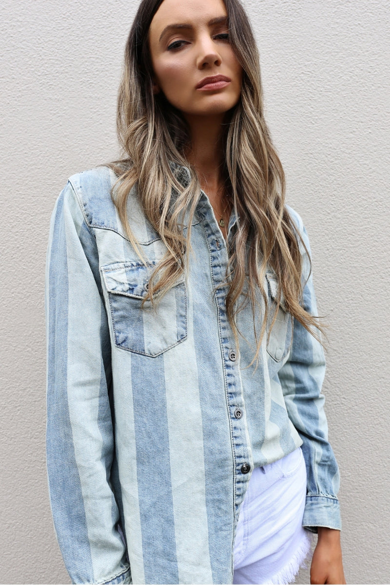 One Teaspoon French Stripe Linen Shirt mve boutique