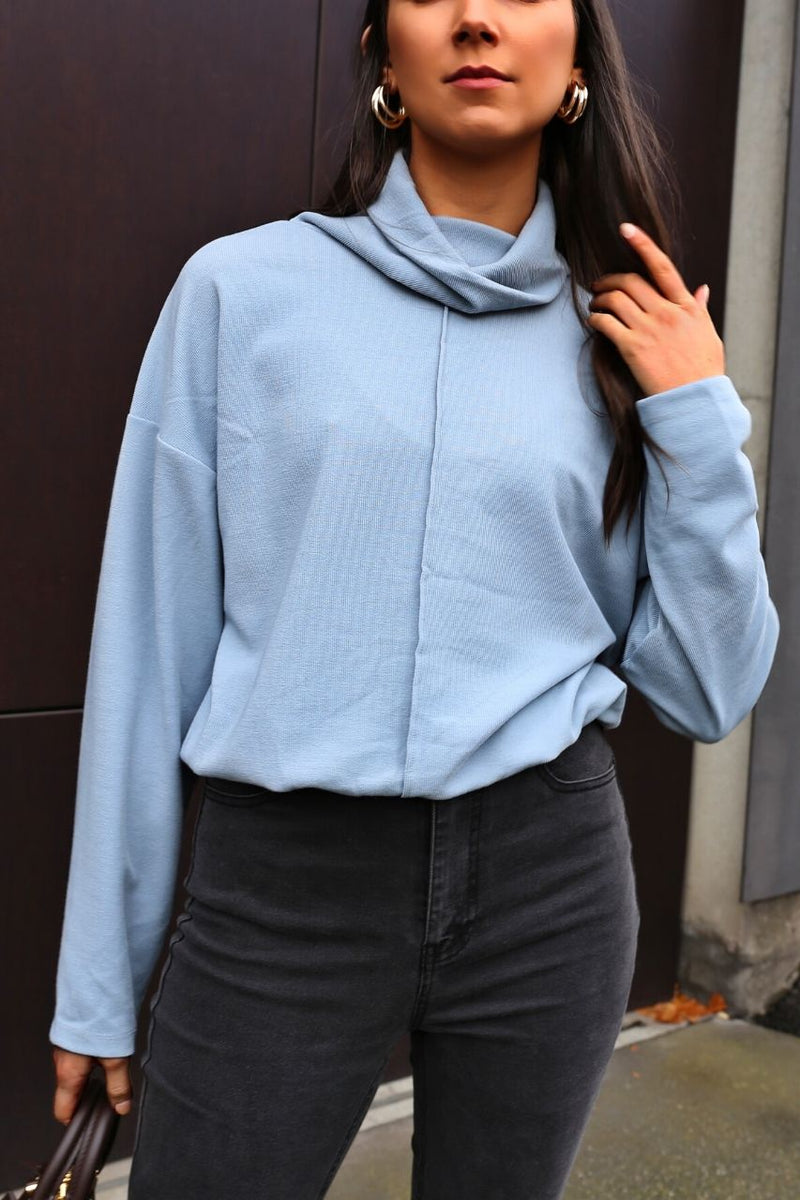 Halley Rollneck Sweater - Azure