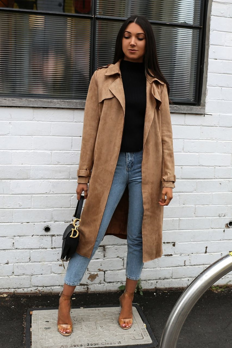 tan suede coat
