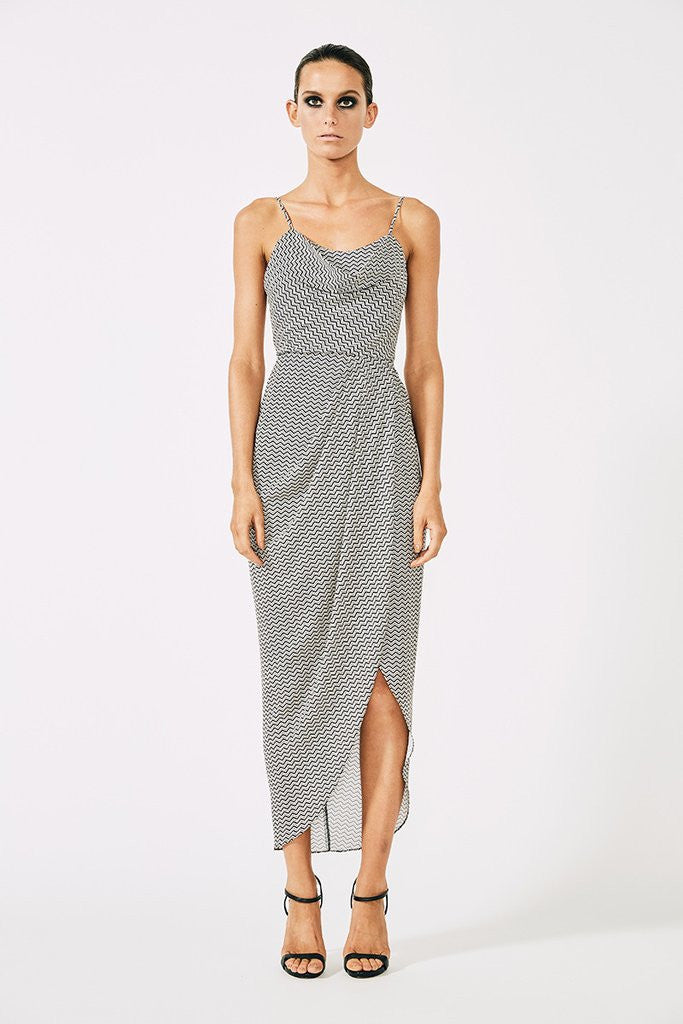 ETIENNE LACE UP COWL DRESS