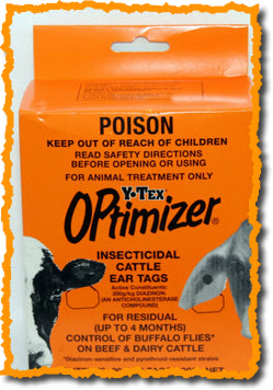 Y-TEX OPTIMIZER INSECTICIDAL CATTLE EAR TAGS - 20 TAGS