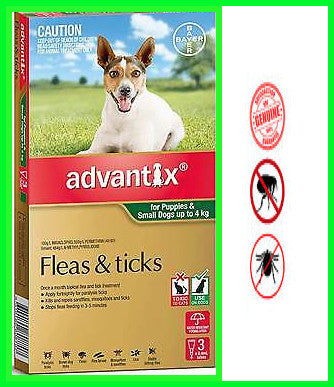 Advantix - Green for Puppies & Small Dogs weighing up to - 4kg.