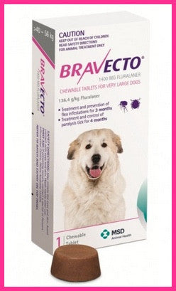 Bravecto - Chewables for Dogs 40 - 56 kg - Pink