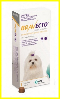 Bravecto - Chewables for Dogs 2 - 4.5kg -Yellow