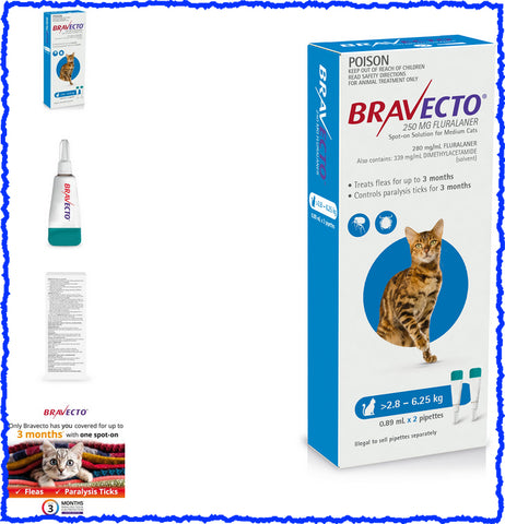 Bravecto Spot On For Cats Blue 2.8-6.25kg