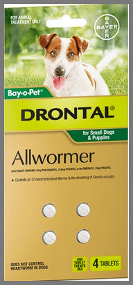 Drontal Wormers Tabs for Dogs 3kg - 4 Tabs