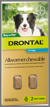 Drontal Wormers Chewable for Dogs up to 10kg - 2 chews