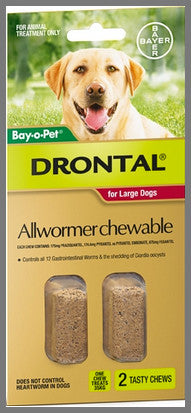 Drontal Wormers Chewables for Dogs up to 35kg - 2 Chews