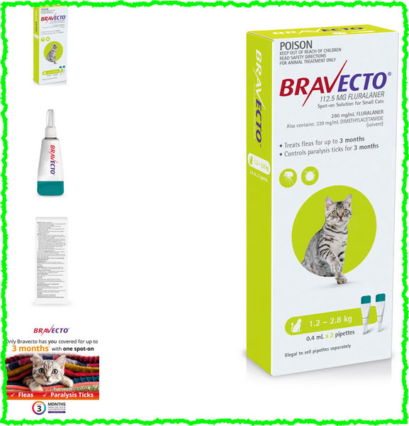 Bravecto Spot On For Cats Green 1.2-2.8kg