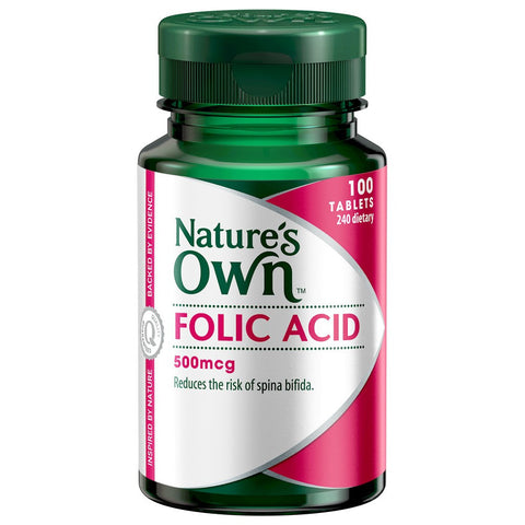 Nature's Own Folic Acid 500mcg ( 100 tablets)
