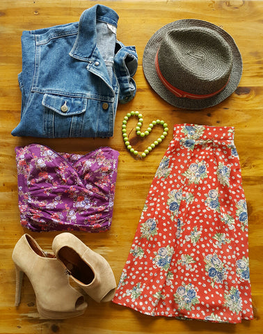 vintage, denim, jacket, orange, floral , skirt, fedora, hat, bootie