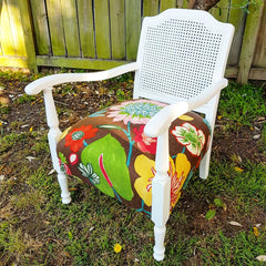 Restored vintage white cane chair