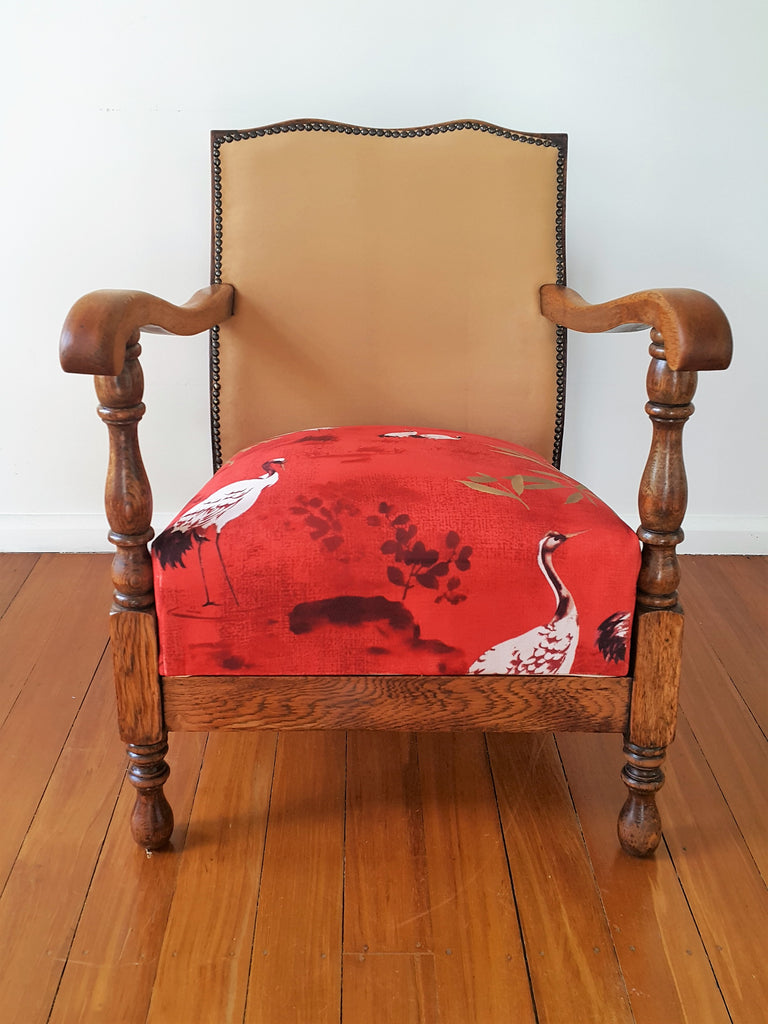 SOLD Restored Vintage Oak Nursing Chair