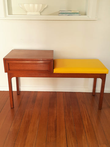 SOLD Restored Mid Century Phone Table With Yellow Vinyl Seat