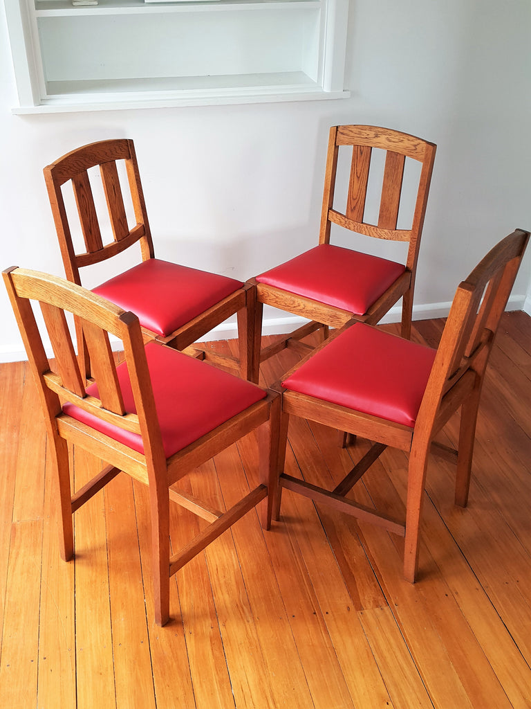 SOLD A Set Of Four English Oak Dining Chairs