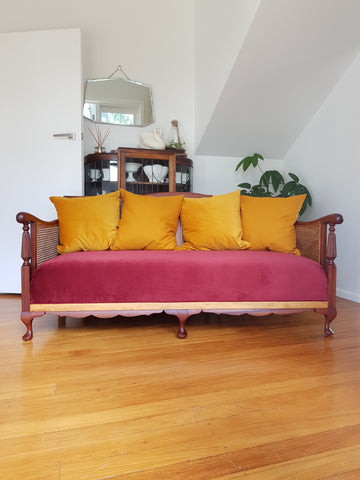 Restored Vintage Cane Three Seater Sofa