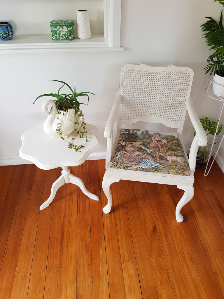 Vintage Cane Back Chair With FREE Side Table