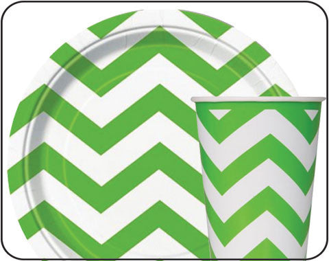 Apple Green Chevron Party