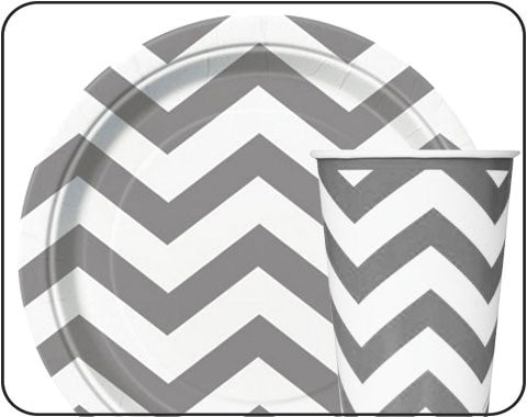 Silver Chevron Party Supplies