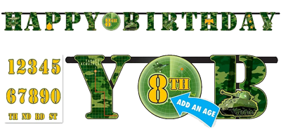 Camo Army Happy Birthday Banner