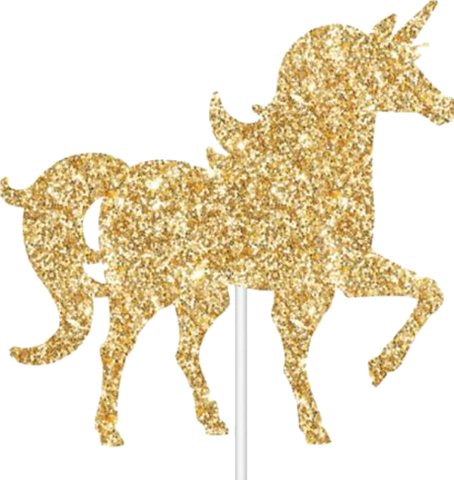 Gold Glitter Unicorn Cake Topper