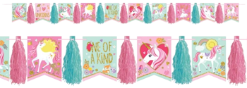 Magical Unicorn Glitter Banner with Tassels