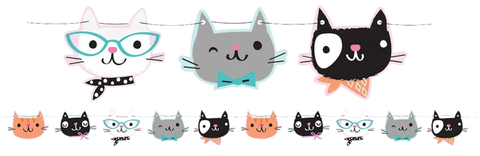 Purr-Fect Pussy Cat Party Ribbon Banner
