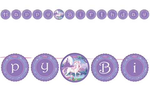 Unicorn Fantasy Circle Ribbon Birthday Banner