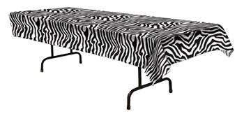 Zebra Plastic Table Cloth, Jungle Theme