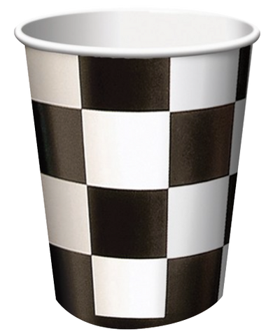 Black Check Party Cups Pk8