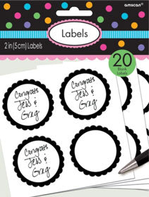 Black Scalloped Sticky Labels