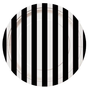 Black Striped Lunch Plates