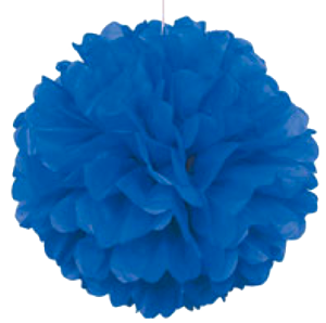 Blue Puff Ball Tissue Decorations