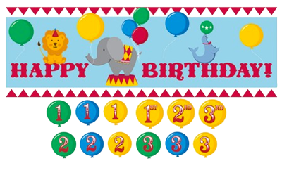 Circus Time Happy Birthday Banner