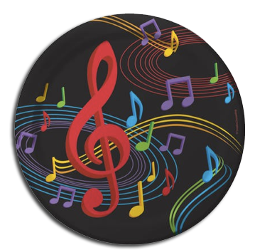 Dancing Music Notes plates, disco party theme