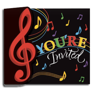 Dancing Music notes invitations, disco party invitations