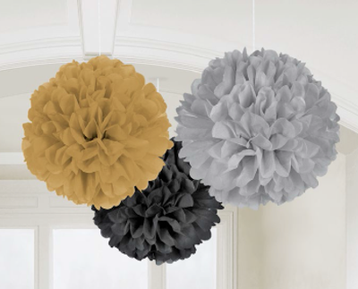 Black Fluffy Tissue Ball Decorations Party