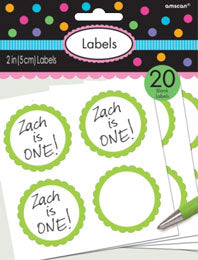 Green Scalloped Sticky Labels