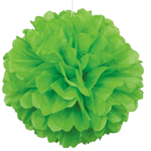 Green Puff Ball Tissue Decorations