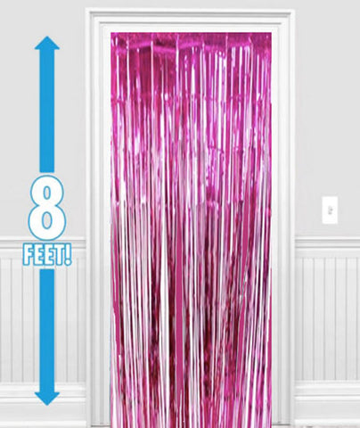 Hot Pink Metallic Foil Curtain