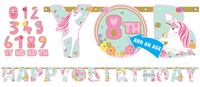 Magical Unicorn Add an Age Happy Birthday Banner
