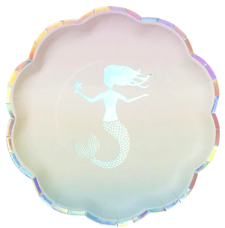 We Heart Mermaid Iridescent Plates