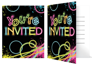 Neon Glow Party Invitations pk 8