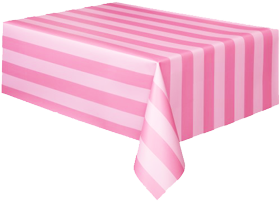 Pink Striped Plastic Table Cloth