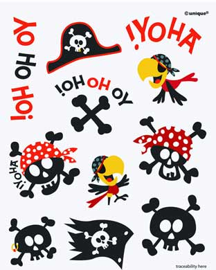 Pirate Party Temporary Tattoos | Pirate party supplies & Decorations ...