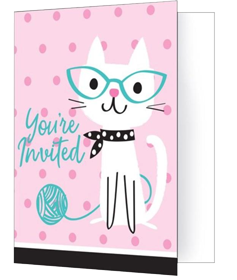 Purr-Fect Pussy Cat Party Invitations