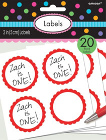 Red Scalloped Sticky Labels