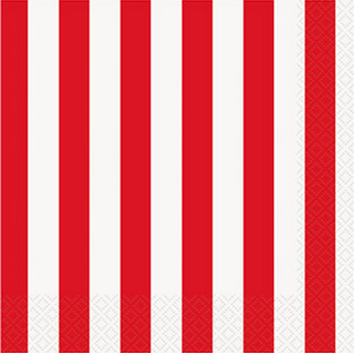 Red Striped Lunch Napkins